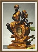 Antique Effect Beautiful Clock Venus and Cupid Empire Style Gold Colour